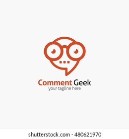 Comment Geek logo design template with face in glasses. Vector illustration.