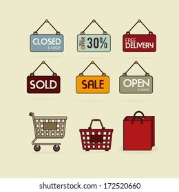 commerce design over beige background vector illustration