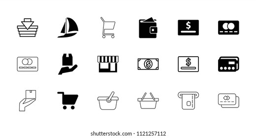 Commerce icon. collection of 18 commerce filled and outline icons such as credit card, cargo protection, shopping cart. editable commerce icons for web and mobile.