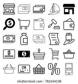 Commerce icons. set of 25 editable outline commerce icons such as search dollar, money dollar, store, wallet, credit card, shopping basket, shopping cart, dollar card