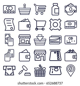 Commerce icons set. set of 25 commerce outline icons such as credit card, wallet, atm money withdraw, medical bottle, shop, auction, bill of house sell, card, cash payment
