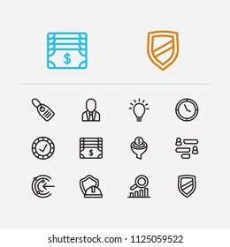 Commerce icons set. Reliable value and commerce icons with core values, proactive and business person. Set of secured for web app logo UI design.