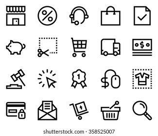 Commerce line icon set. Pixel perfect fully editable vector icon suitable for websites, info graphics and print media.