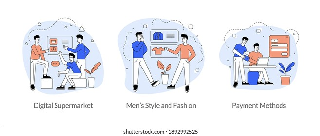Commerce and trade in internet flat linear vector illustration set. Digital supermarket, men s style and fashion, payment methods. Men cartoon characters