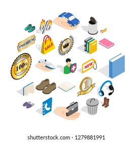 Commercial acumen icons set. Isometric set of 25 commercial acumen vector icons for web isolated on white background