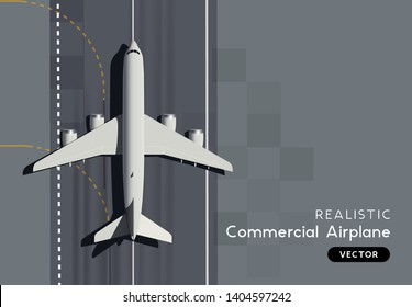 A commercial airplance landing. Realistic jet - top aerial view vector illustration