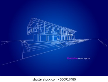 commercial building structure architecture abstract drawing, 3d illustration vector