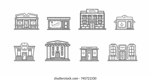 Commercial buildings, drawings, vector