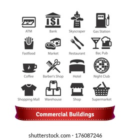 Commercial Buildings Icon Set. Business, Commerce, Food, Recreation and Trading Signs. For Use With Maps and Internet Services Interfaces.