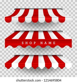 Commercial Canopy Awning Series. Vector Pop Up Store. Striped Awnings of Different Shapes with Shadows on a Transparent Plaid Background. Design Element for Poster, Banner, Advertising.