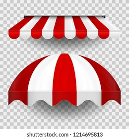 Commercial Canopy Awning Series. Vector Pop Up Store. Straight and Dome Striped Awnings with Shadows on a Transparent Plaid Background. Design Element for Poster, Banner, Advertising.