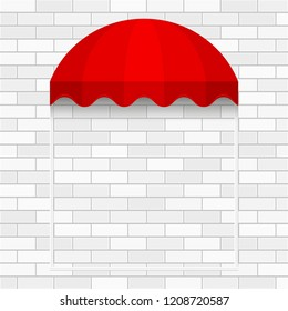 Commercial Canopy Awning Series. White Brick Vector Wall. Red Dome Awning Template. Shadow, Frame. Ready Template for Poster, Banner, Advertising.