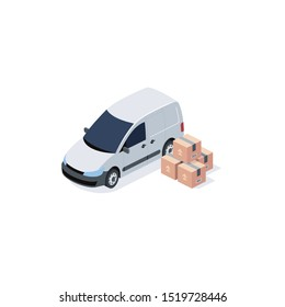 Commercial car Cargo delivery. Vector 3d isometric, color web icon, new flat style. Creative illustration design, idea for infographics.