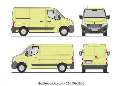 Commercial cargo van template vector