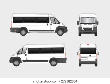 Commercial city van, small bus, vehicle blueprint