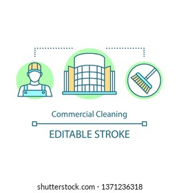 Commercial cleaning concept icon. Cleaning services idea thin line illustration. Janitorial service. Office cleanup. Dirt removal. Yard cleaning. Vector isolated outline drawing. Editable stroke