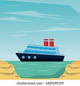 Commercial cruiseship vacation leisure trip sea travel and exploration peninsula shore background vector illustration graphic design