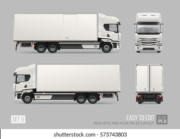 Commercial Delivery Cargo Truck vector template for brand identity and advertising isolated from grey. Easy to edith Realistic Corporate Truck Hi-detailed layout. Front and back view truck template