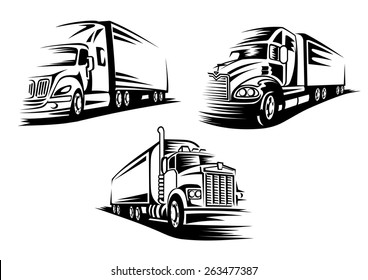 Commercial delivery cargo trucks silhouettes isolated on white background suitable for logo or emblem template