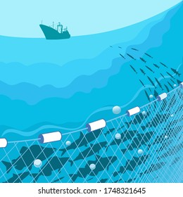 Commercial fish, fishing nets, fishing vessel on a background of the sea.