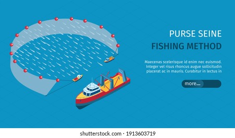 Commercial fishing purse seine isometric horizontal web banner with vertical net deployed from seiner boats vector illustration