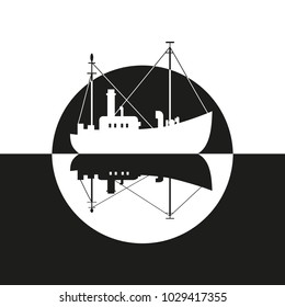 Commercial fishing trawler icon. Ship silhouette on the sea. Side view. Fishermen boat on the ocean. Industrial vessel. Flat black white monochrome simplicity minimalism design. Vector illustration