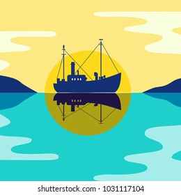 Commercial fishing trawler icon. Ship silhouette on the calm sea water. Side view. Fishermen boat in the ocean. Industrial vessel. Flat pop art simplicity minimalism design. Vector illustration