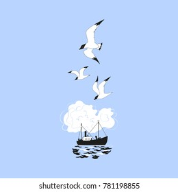 Commercial fishing trawler icon. Ship silhouette on the sea waves. Side view. Fishermen boat on the ocean. Industrial vessel. Seagulls flying. Flat simplicity minimalism design. Vector illustration