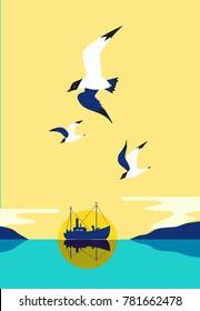 Commercial fishing trawler, sea birds. Ship silhouette in ocean. Fishermen boat on water. Industrial vessel. Seagulls fly in sky. Pop art style. Flat simplicity minimalism design. Vector illustration