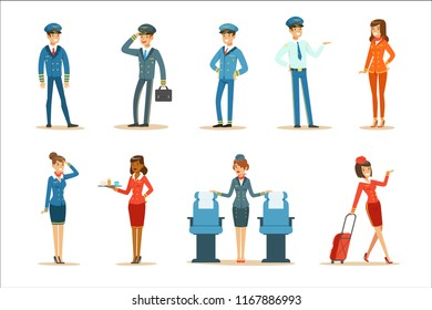 Commercial Flight Board Crew Collection Of Air Transportation Professionals Working On The Plane, Stewardesses And Pilots