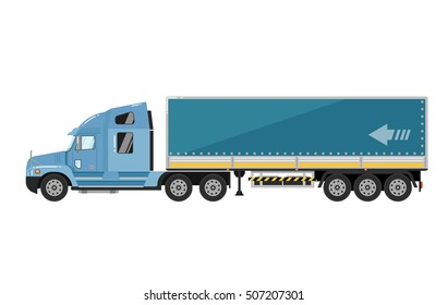 Commercial freight truck isolated on white background. Freight truck or cargo truck side view isolated.