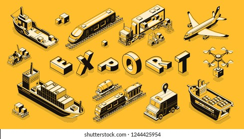 Commercial goods export isometric vector concept with air, road, maritime freight transport line art illustrations. International trade delivery or shipment. Business cargo transportation technologies