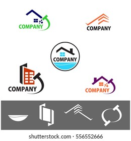 Commercial Home Cleaning Company Logo and Apps Icon Design Elements