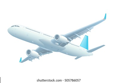 Commercial jet airplane during the flight. Airliner with two engines flying . Front side view. Vector illustration. Isolated on white background. EPS-8.