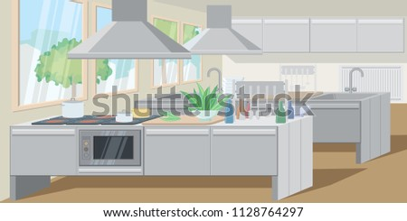 Commercial Kitchen Counters Equipped Powerful Appliances Stock ...