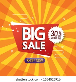 commercial label with big sale offer lettering and thirty percent discount vector illustration design