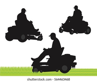 Commercial lawn service silhouette