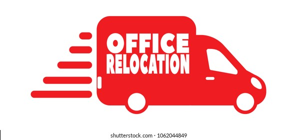 Commercial and office relocation inscription on red bus isolated on white background
