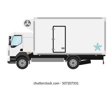 Commercial refrigerated truck isolated on white background. Vector refrigerated van or refrigerator car icon. Reefer car icon. Commercial transport car.