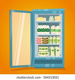 Commercial refrigerator full of dairy products. Opened fridge filled with bottles and packs of milk, yogurt, cheese, sour cream vector illustration on orange background. Saving freshness of products