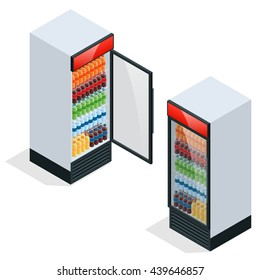 Commercial refrigerator to store drinks, perishables for store or supermarket. Flat 3d isometric illustration. For infographics and design