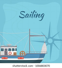 Commercial sailing poster with sea ship. Fishing company concept, trawler for traditional seafood production vector illustration. Retro marine flotilla of ships, industrial nautical transportation.