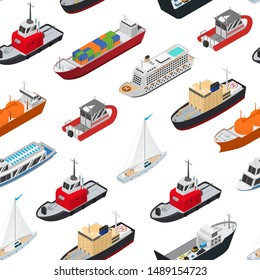 Commercial Sea Ships Signs 3d Seamless Pattern Background on a White Isometric View Include of Freight Industrial Boat and Vessel. Vector illustration of Icons