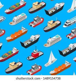 Commercial Sea Ships Signs 3d Seamless Pattern Background Isometric View Include of Freight Industrial Boat and Vessel. Vector illustration of Icons