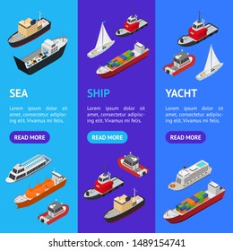 Commercial Sea Ships Signs 3d Banner Vecrtical Set Isometric View Include of Freight Industrial Boat and Vessel. Vector illustration of Icons