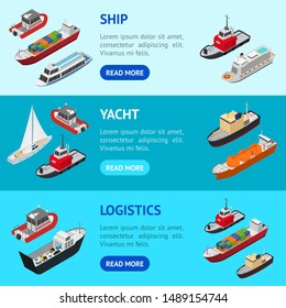 Commercial Sea Ships Signs 3d Banner Horizontal Set Isometric View Include of Freight Industrial Boat and Vessel. Vector illustration of Icons