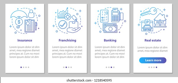 Commercial services and government institutions onboarding mobile app page screen with linear concepts. Real estate, insurance, banking, franchising steps. UX, UI, GUI vector template illustrations