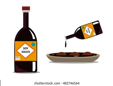 Commercial Soy sauce in a bottle and also poured in a meat to marinate it. Editable Clip Art.