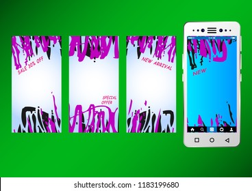 Commercial Stories Abstract Background template mobile format. Sale.  Vector Illustration