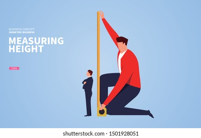 Commercial test, the boss measures the height of the businessman with a ruler